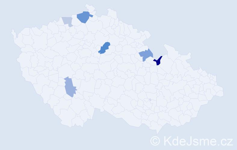 Příjmení: 'Dikošová', počet výskytů 9 v celé ČR