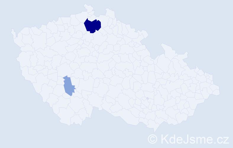 Příjmení: 'Cengrová', počet výskytů 7 v celé ČR
