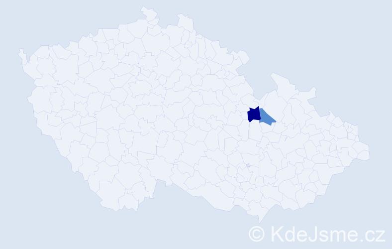 Příjmení: 'Haislarová', počet výskytů 5 v celé ČR