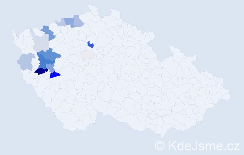 Příjmení: 'Honal', počet výskytů 41 v celé ČR