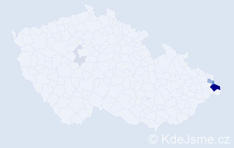 Příjmení: 'Drózd', počet výskytů 18 v celé ČR