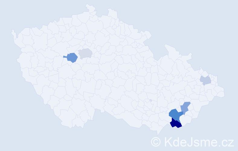 Příjmení: 'Bělčíková', počet výskytů 9 v celé ČR