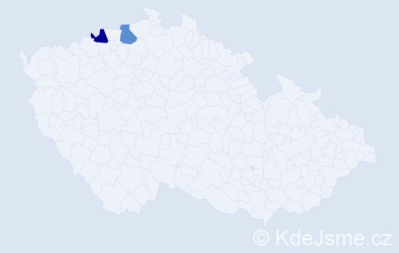 Příjmení: 'Lerek', počet výskytů 4 v celé ČR