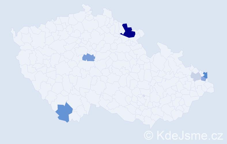 Příjmení: 'Čížik', počet výskytů 10 v celé ČR