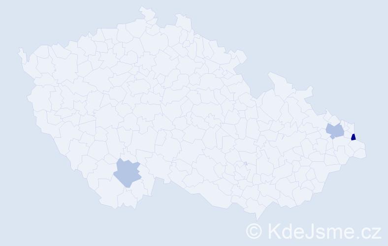 Příjmení: 'Kollarczyková', počet výskytů 5 v celé ČR
