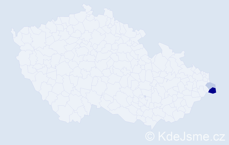 Příjmení: 'Jalovičor', počet výskytů 5 v celé ČR
