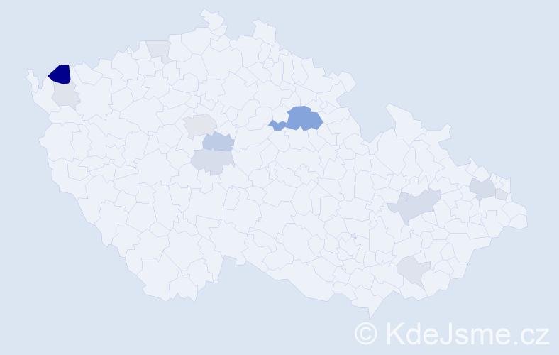 Příjmení: 'Kričfaluši', počet výskytů 33 v celé ČR