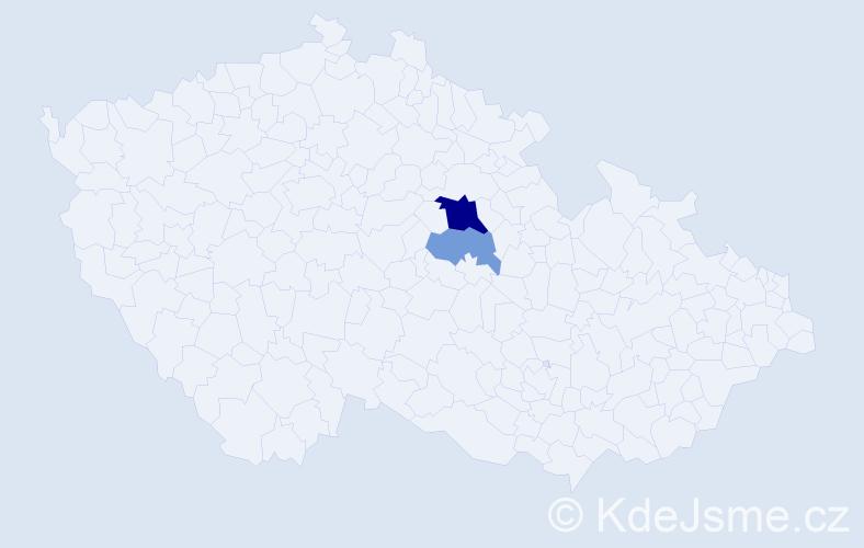 Příjmení: 'Gwozdiaková', počet výskytů 5 v celé ČR