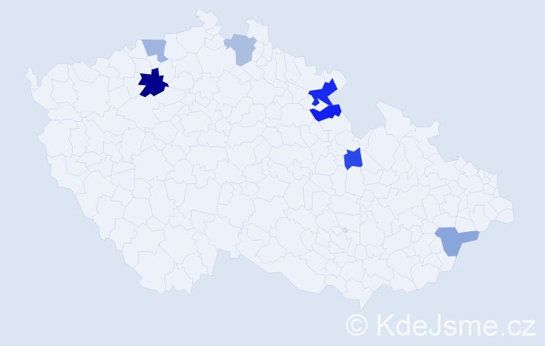 Příjmení: 'Eimannová', počet výskytů 11 v celé ČR