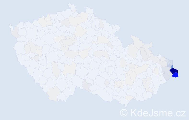 Příjmení: 'Heczko', počet výskytů 800 v celé ČR