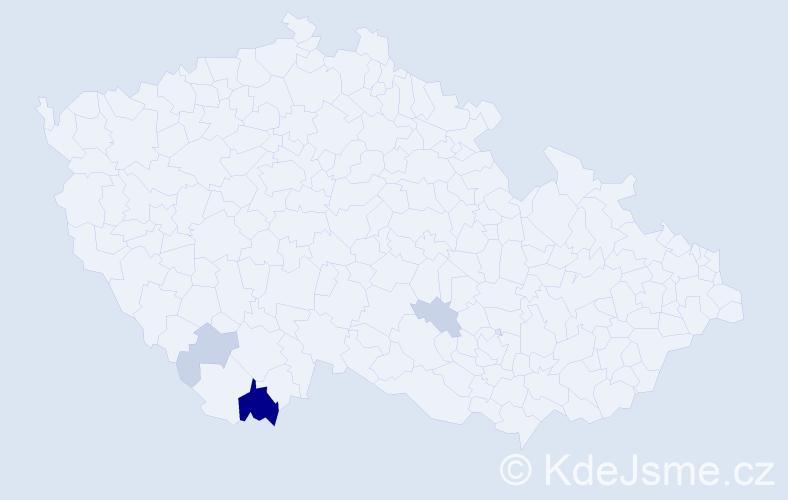Příjmení: 'Čoka', počet výskytů 15 v celé ČR