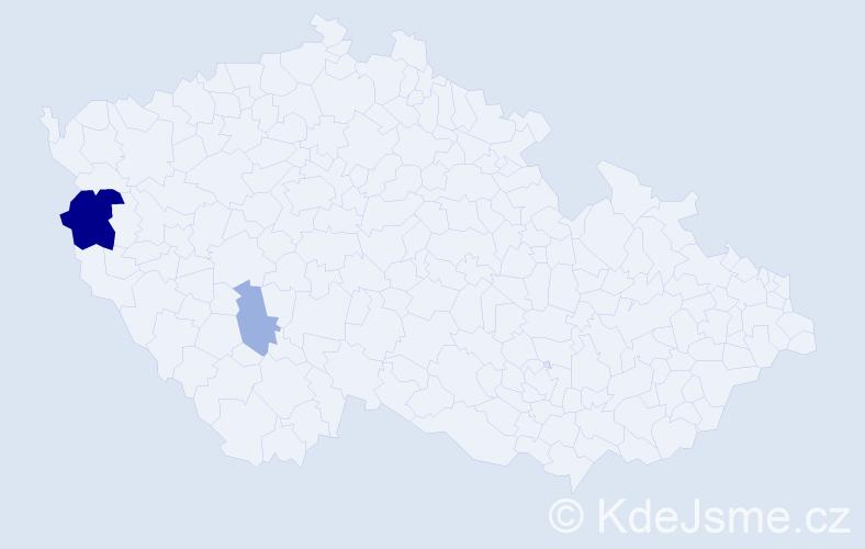 Příjmení: 'Kunžwartová', počet výskytů 5 v celé ČR
