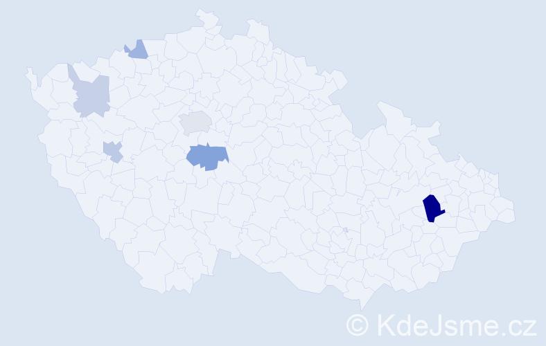 Příjmení: 'Dán', počet výskytů 14 v celé ČR