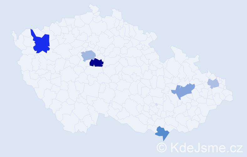Příjmení: 'Dacko', počet výskytů 11 v celé ČR