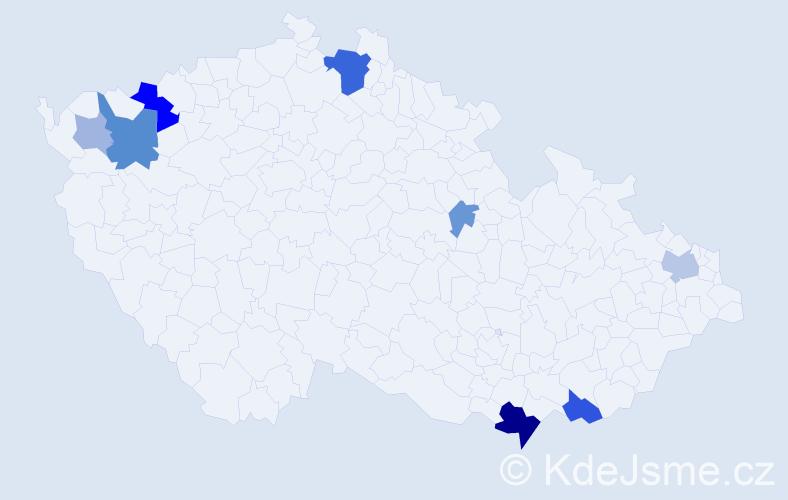 Příjmení: 'Áčová', počet výskytů 22 v celé ČR
