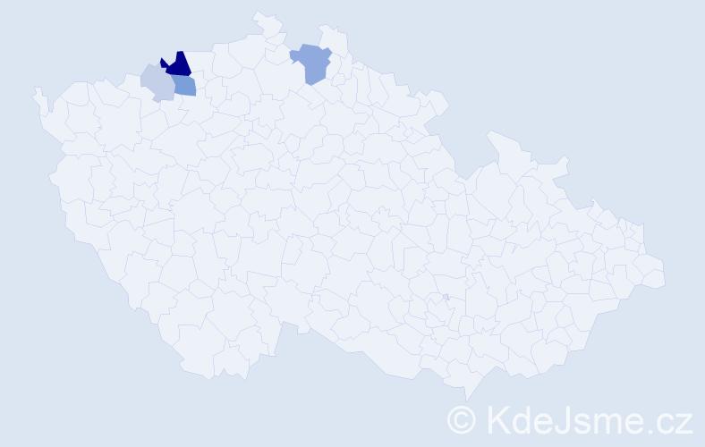 Příjmení: 'Čobaková', počet výskytů 13 v celé ČR