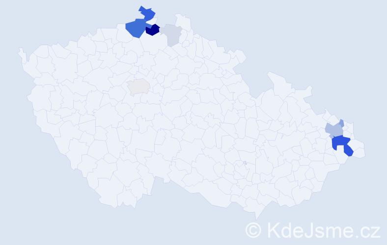 Příjmení: 'Kolčáková', počet výskytů 29 v celé ČR