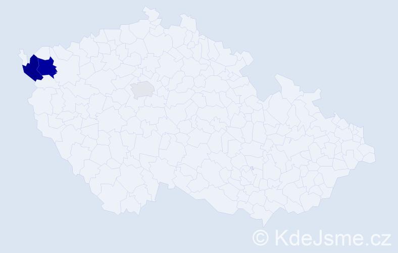Příjmení: 'Csáková', počet výskytů 8 v celé ČR