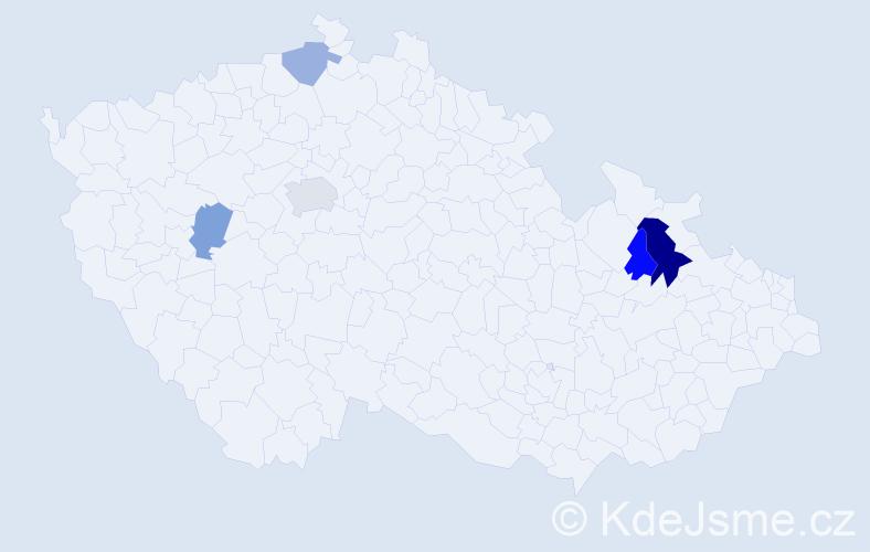 Příjmení: 'Čmelo', počet výskytů 8 v celé ČR
