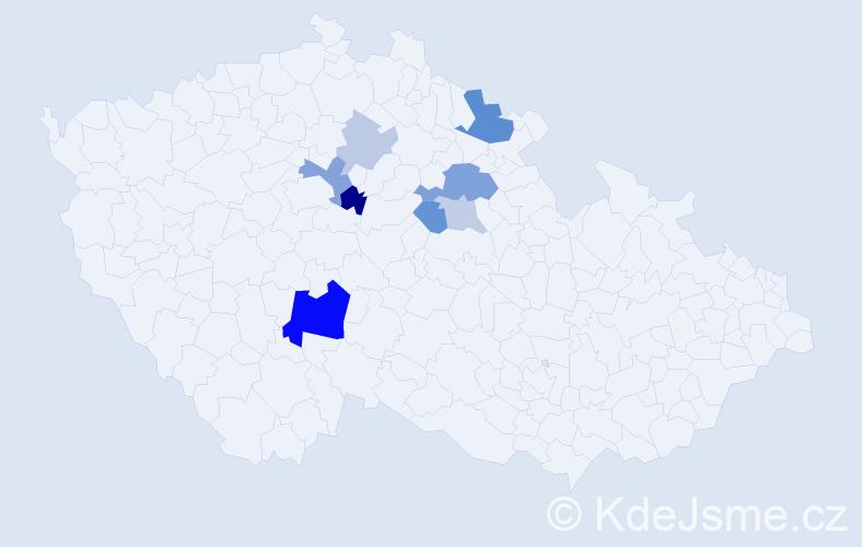 Příjmení: 'Dmejchal', počet výskytů 19 v celé ČR