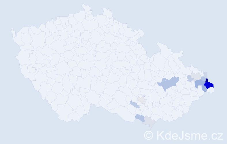 Příjmení: 'Kaczmarczyk', počet výskytů 58 v celé ČR