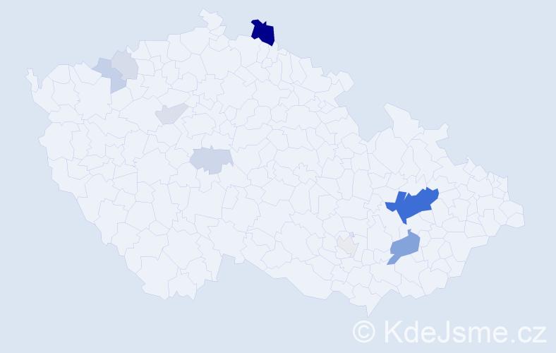 Příjmení: 'Čečatková', počet výskytů 30 v celé ČR