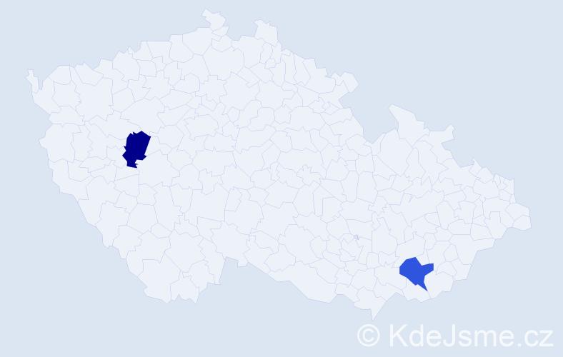 Příjmení: 'Ilešová', počet výskytů 2 v celé ČR