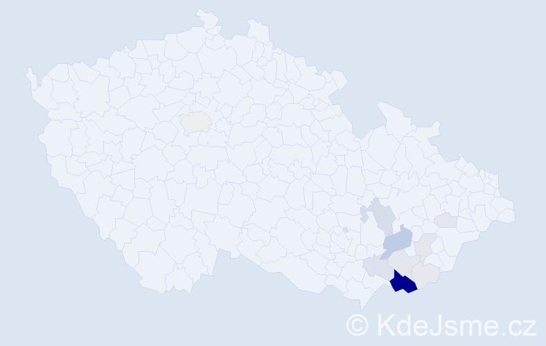 Příjmení: 'Hlahůlková', počet výskytů 55 v celé ČR