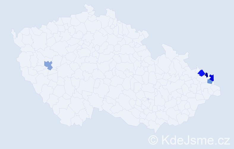 Příjmení: 'Caderová', počet výskytů 6 v celé ČR