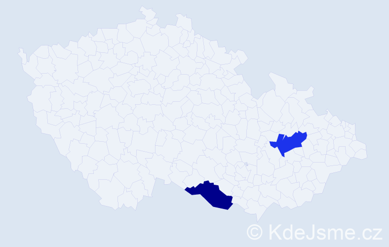 Příjmení: 'Au', počet výskytů 2 v celé ČR