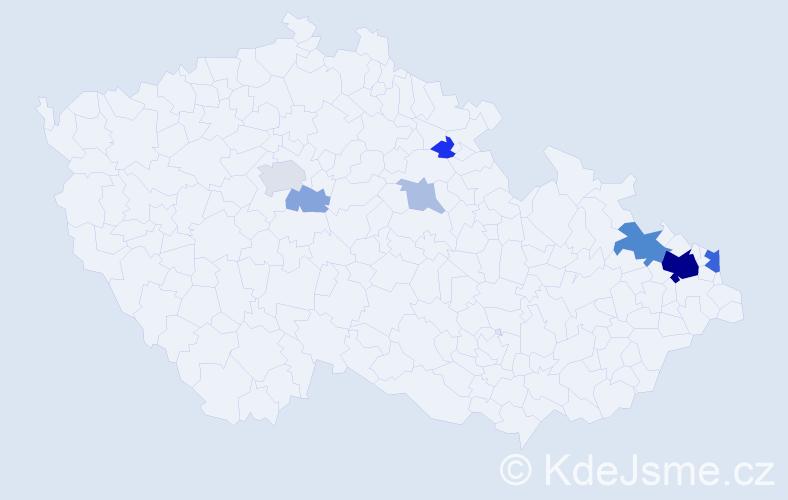 Příjmení: 'Křížkovský', počet výskytů 26 v celé ČR