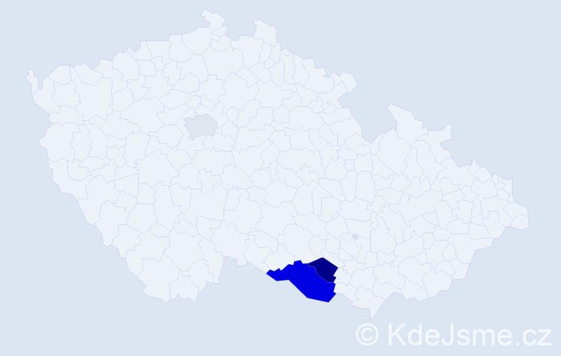 Příjmení: 'Dancinger', počet výskytů 5 v celé ČR