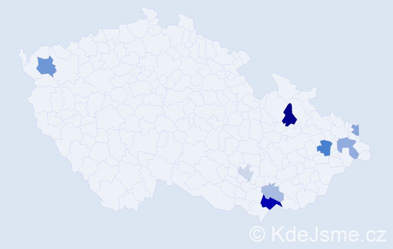 Příjmení: 'Glöcklová', počet výskytů 22 v celé ČR