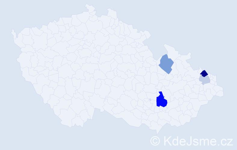 Příjmení: 'Leckelová', počet výskytů 6 v celé ČR