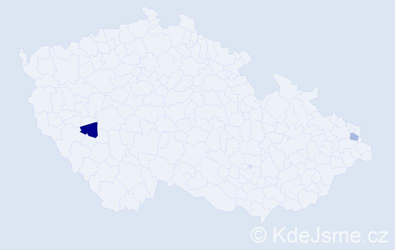 Příjmení: 'Kreta', počet výskytů 2 v celé ČR