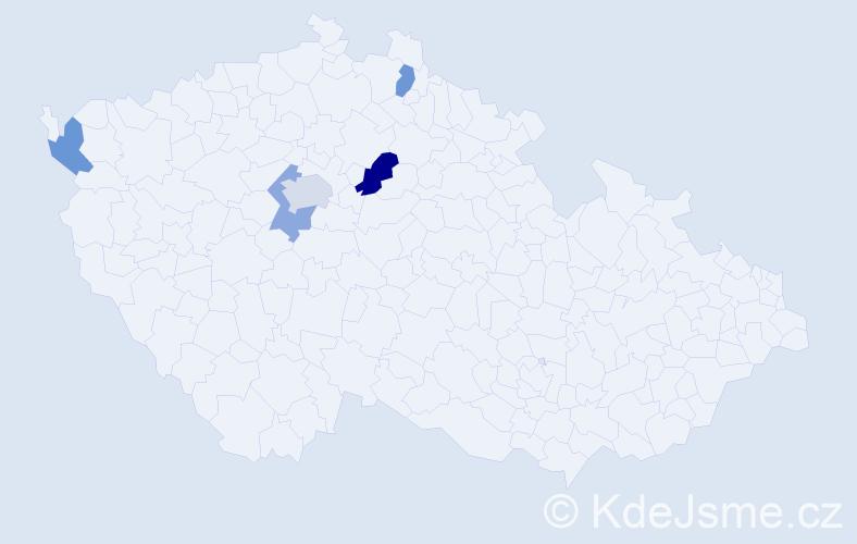 Příjmení: 'Härtlová', počet výskytů 7 v celé ČR