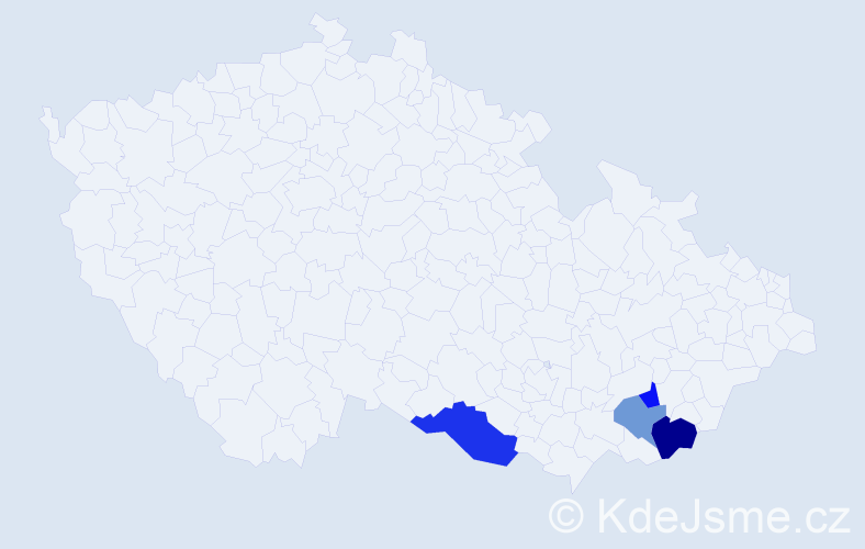 Příjmení: 'Czaker', počet výskytů 6 v celé ČR