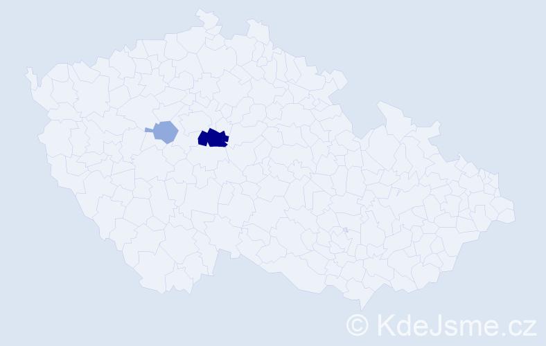 Příjmení: 'Digrín', počet výskytů 6 v celé ČR