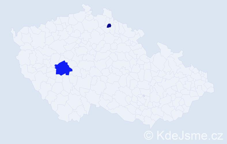 Příjmení: 'Dendys', počet výskytů 10 v celé ČR