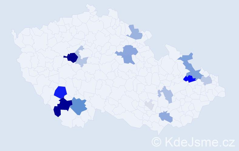 Příjmení: 'Jalčová', počet výskytů 30 v celé ČR