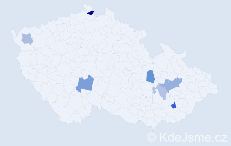 Příjmení: 'Bačik', počet výskytů 11 v celé ČR