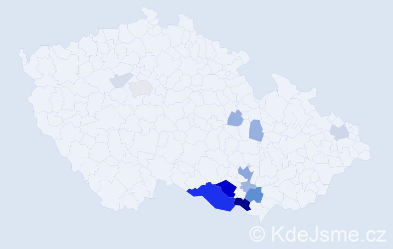 Příjmení: 'Cvingráf', počet výskytů 42 v celé ČR