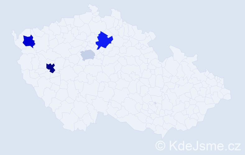 Příjmení: 'Fegová', počet výskytů 5 v celé ČR