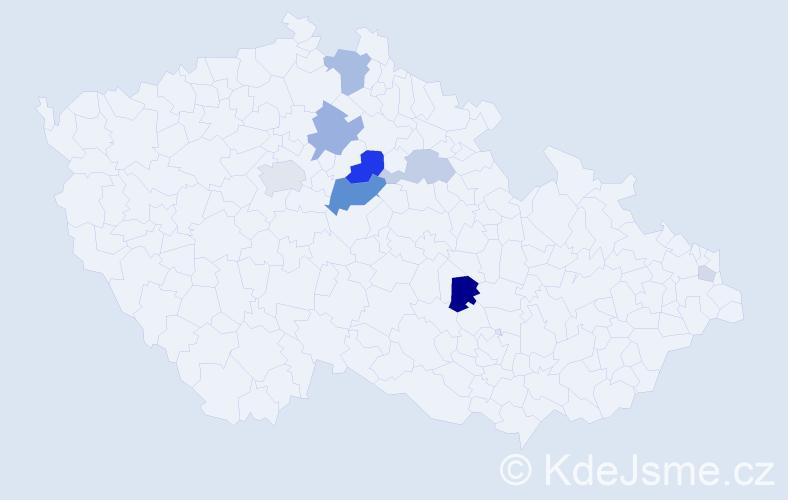 Příjmení: 'Hosa', počet výskytů 27 v celé ČR
