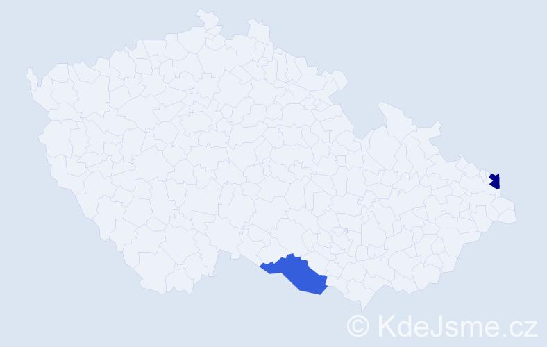 Příjmení: 'Karchutňák', počet výskytů 5 v celé ČR