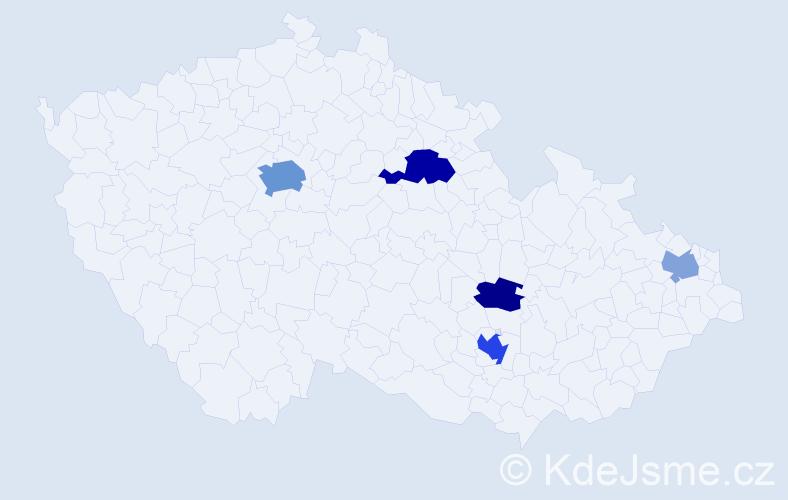 Příjmení: 'Jacobsen', počet výskytů 12 v celé ČR