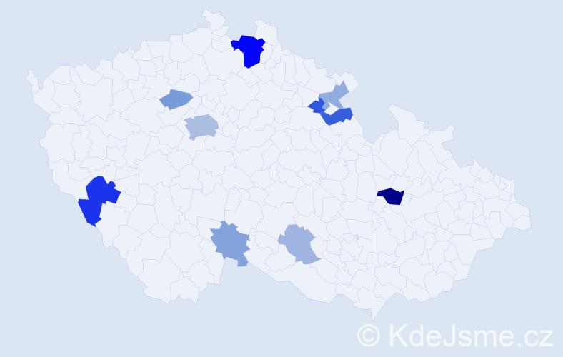 Příjmení: 'Holinský', počet výskytů 26 v celé ČR