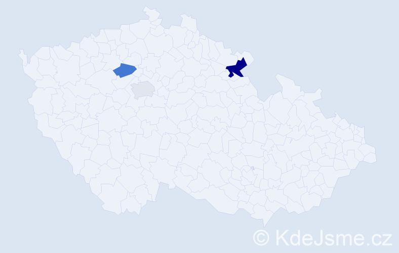 Příjmení: 'Čečo', počet výskytů 5 v celé ČR