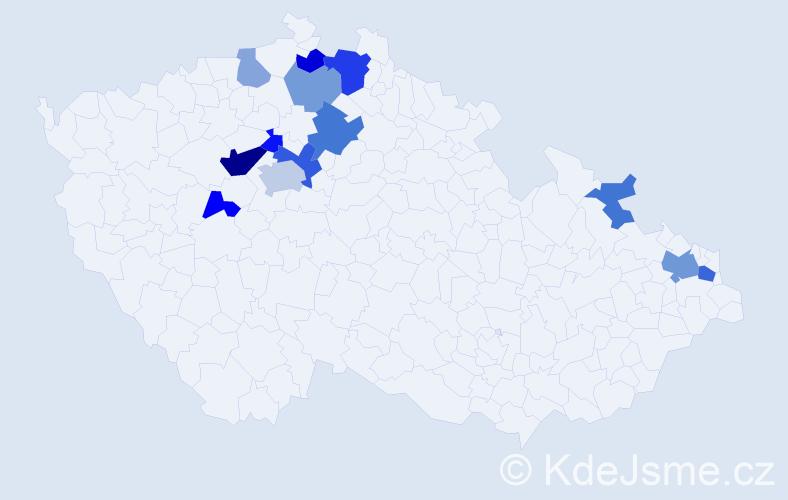 Příjmení: 'Bombová', počet výskytů 25 v celé ČR
