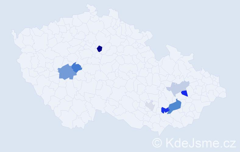 Příjmení: 'Heichelová', počet výskytů 12 v celé ČR